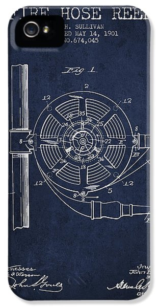 Hose iPhone 5 Cases - 1901 Fire Hose Reel Patent - navy blue iPhone 5 Case by Aged Pixel