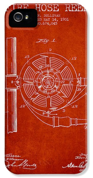 Hose iPhone 5 Cases - 1901 Fire Hose Reel Patent - red iPhone 5 Case by Aged Pixel