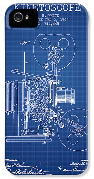 Motion Picture iPhone 5 Cases - 1902 Kinetoscope Patent - Blueprint iPhone 5 Case by Aged Pixel