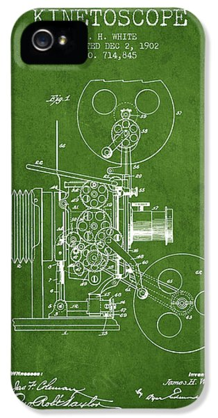 Motion Picture iPhone 5 Cases - 1902 Kinetoscope Patent - Green iPhone 5 Case by Aged Pixel