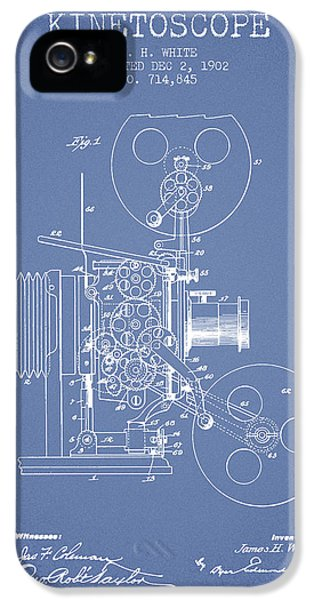 Motion Picture iPhone 5 Cases - 1902 Kinetoscope Patent - Light Blue iPhone 5 Case by Aged Pixel
