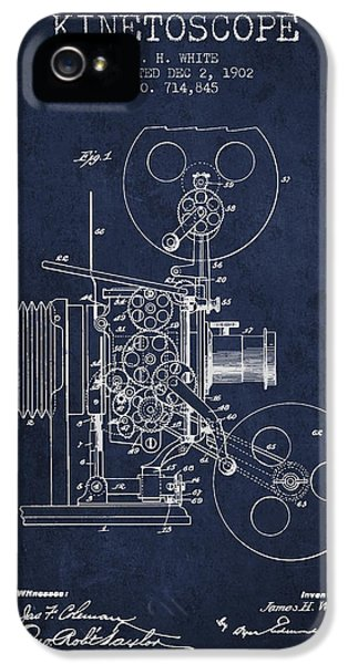 Motion Picture iPhone 5 Cases - 1902 Kinetoscope Patent - Navy Blue iPhone 5 Case by Aged Pixel