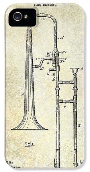 1902 Trombone Patent IPhone 5 / 5s Case by Jon Neidert