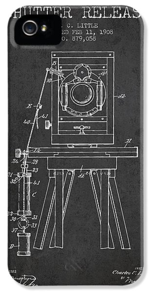 Motion Picture iPhone 5 Cases - 1908 Shutter Release Patent - Charcoal iPhone 5 Case by Aged Pixel