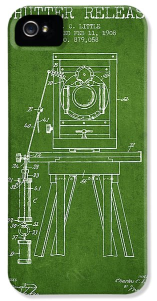 Motion Picture iPhone 5 Cases - 1908 Shutter Release Patent - Green iPhone 5 Case by Aged Pixel