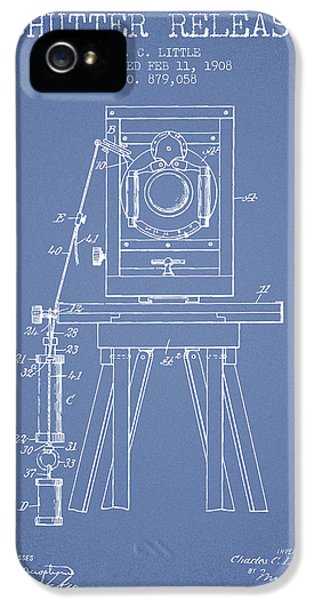 Motion Picture iPhone 5 Cases - 1908 Shutter Release Patent - Light Blue iPhone 5 Case by Aged Pixel