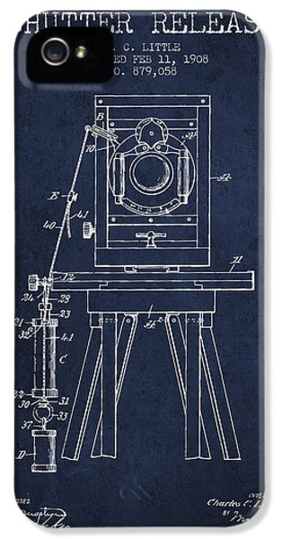 Motion Picture iPhone 5 Cases - 1908 Shutter Release Patent - Navy Blue iPhone 5 Case by Aged Pixel