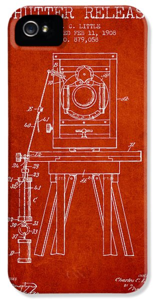 Motion Picture iPhone 5 Cases - 1908 Shutter Release Patent - Red iPhone 5 Case by Aged Pixel