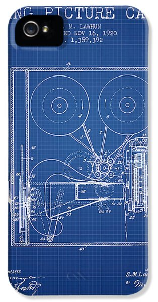 Motion Picture iPhone 5 Cases - 1920 Moving Picture Camera Patent - blueprint iPhone 5 Case by Aged Pixel