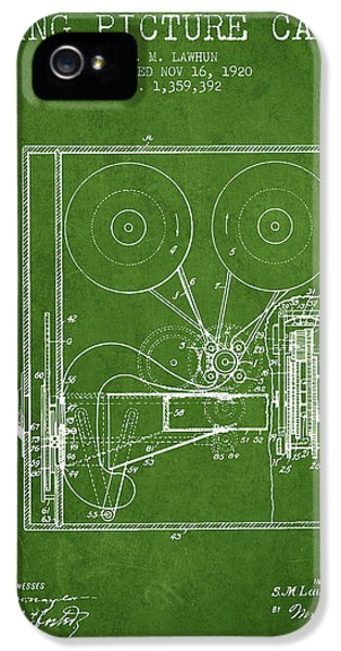 Motion Picture iPhone 5 Cases - 1920 Moving Picture Camera Patent - green iPhone 5 Case by Aged Pixel