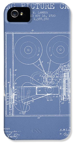 Motion Picture iPhone 5 Cases - 1920 Moving Picture Camera Patent - light blue iPhone 5 Case by Aged Pixel