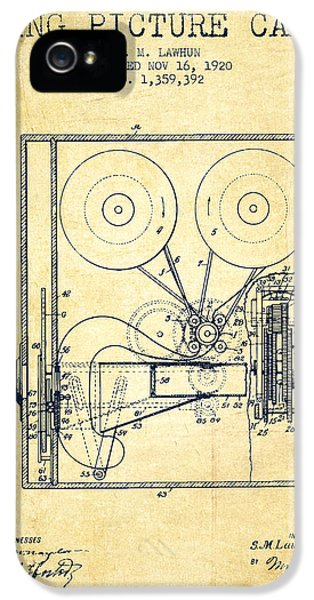 Motion Picture iPhone 5 Cases - 1920 Moving Picture Camera Patent - vintage iPhone 5 Case by Aged Pixel