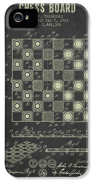 Strategy iPhone 5 Cases - 1923 Chess Board Patent - Dark Grunge iPhone 5 Case by Aged Pixel