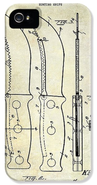 Hunting iPhone 5 Cases - 1925 Hunting Knife Patent iPhone 5 Case by Jon Neidert