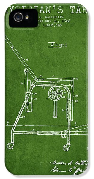 Illness iPhone 5 Cases - 1926 Physicians Table patent - Green iPhone 5 Case by Aged Pixel