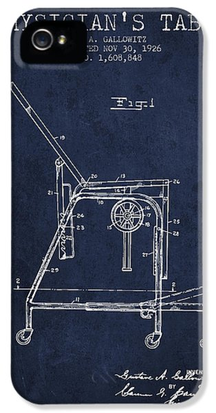 Illness iPhone 5 Cases - 1926 Physicians Table patent - Navy Blue iPhone 5 Case by Aged Pixel