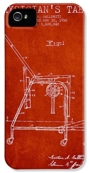 Illness iPhone 5 Cases - 1926 Physicians Table patent - Red iPhone 5 Case by Aged Pixel
