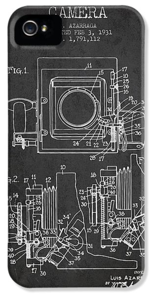 Motion Picture iPhone 5 Cases - 1931 Camera Patent - Charcoal iPhone 5 Case by Aged Pixel