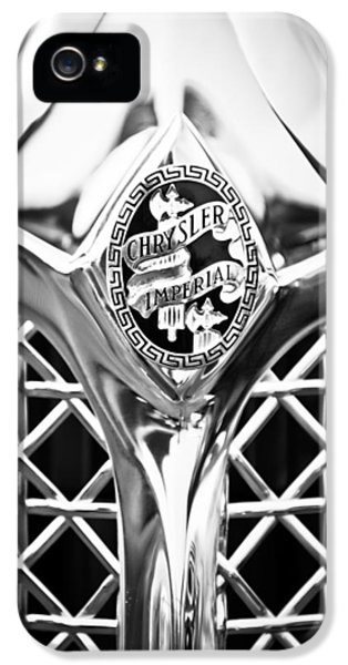 1931 Roadster iPhone 5 Cases - 1931 Chrysler Cg Imperial Lebaron Roadster Grille Emblem -2664bw46 iPhone 5 Case by Jill Reger