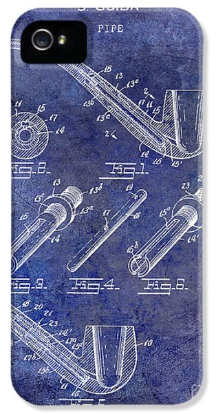 Pipes iPhone 5 Cases - 1935 Pipe Patent Blue iPhone 5 Case by Jon Neidert