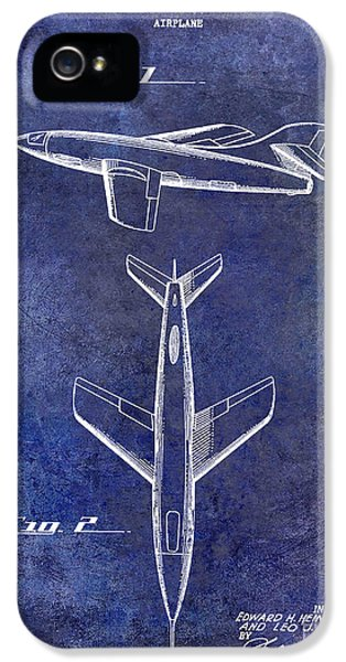 Mcdonnell Douglas iPhone 5 Cases - 1947 Jet Airplane Patent Blue iPhone 5 Case by Jon Neidert