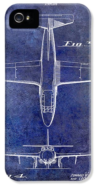 Mcdonnell Douglas iPhone 5 Cases - 1949 Airplane Patent Drawing Blue iPhone 5 Case by Jon Neidert