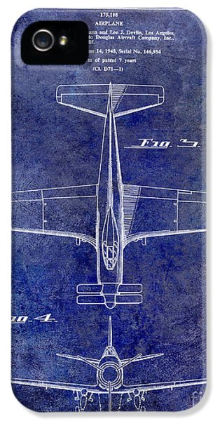 Mcdonnell Douglas iPhone 5 Cases - 1955  Airplane Patent Drawing 2 Blue iPhone 5 Case by Jon Neidert