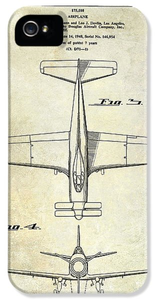 Mcdonnell Douglas iPhone 5 Cases - 1955  Airplane Patent Drawing 2 iPhone 5 Case by Jon Neidert