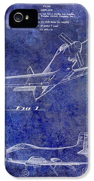 Mcdonnell Douglas iPhone 5 Cases - 1955  Airplane Patent Drawing Blue iPhone 5 Case by Jon Neidert