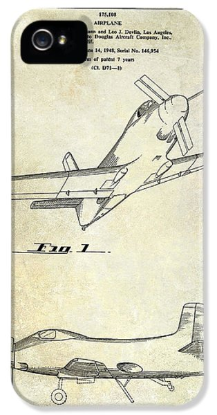 Mcdonnell Douglas iPhone 5 Cases - 1955  Airplane Patent Drawing iPhone 5 Case by Jon Neidert