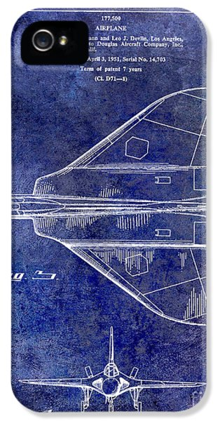 Mcdonnell Douglas iPhone 5 Cases - 1956 Jet Airplane Patent Blue iPhone 5 Case by Jon Neidert