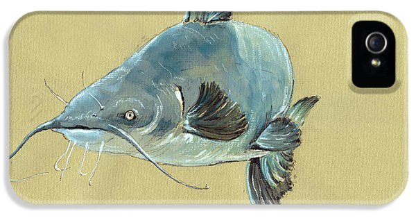 Channel Catfish Fish Animal Watercolor Painting IPhone 5 / 5s Case by Juan  Bosco