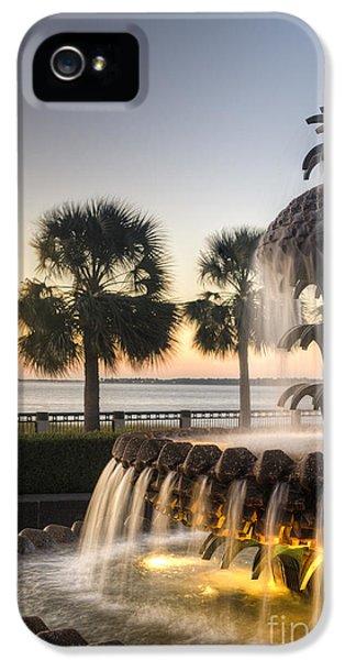 Charleston iPhone 5 Cases - Charleston Pineapple Fountain Sunrise iPhone 5 Case by Dustin K Ryan