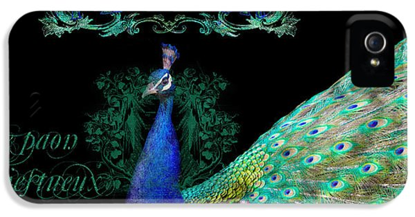 Glamorous iPhone 5 Cases - Elegant Peacock w Vintage Scrolls  iPhone 5 Case by Audrey Jeanne Roberts