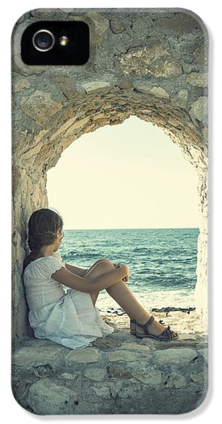 Contemplative iPhone 5 Cases - Girl At The Sea iPhone 5 Case by Joana Kruse