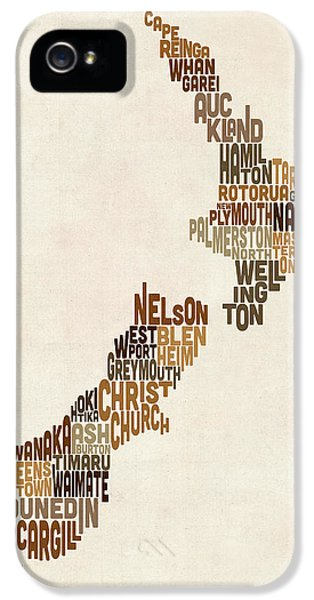 New Zealand Typography Text Map IPhone 5 / 5s Case by Michael Tompsett
