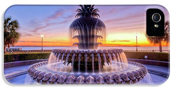 Charleston iPhone 5 Cases - Pineapple Fountain Charleston SC Sunrise iPhone 5 Case by Dustin K Ryan
