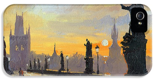 Cityscape iPhone 5 Cases - Prague Charles Bridge 01 iPhone 5 Case by Yuriy  Shevchuk