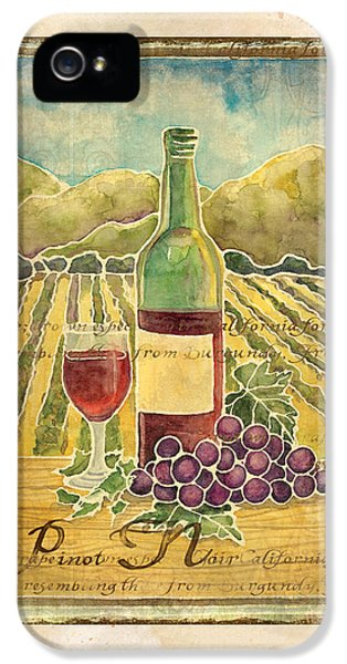 Vineyard Pinot Noir Grapes N Wine - Batik Style IPhone 5 / 5s Case by Audrey Jeanne Roberts