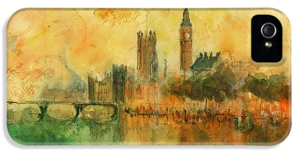 London Watercolor Painting IPhone 5 / 5s Case by Juan  Bosco