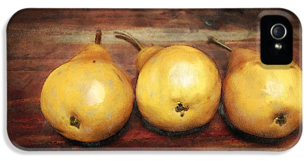 Food iPhone 5 Cases - 3 Pears on a Wooden Table iPhone 5 Case by Julius Reque
