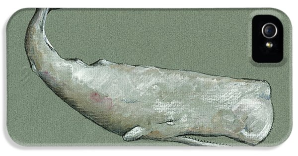 Whale iPhone 5 Cases - Moby dick the White sperm whale  iPhone 5 Case by Juan  Bosco