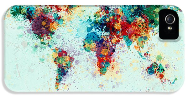 Atlas iPhone 5 Cases - World Map Paint Splashes iPhone 5 Case by Michael Tompsett