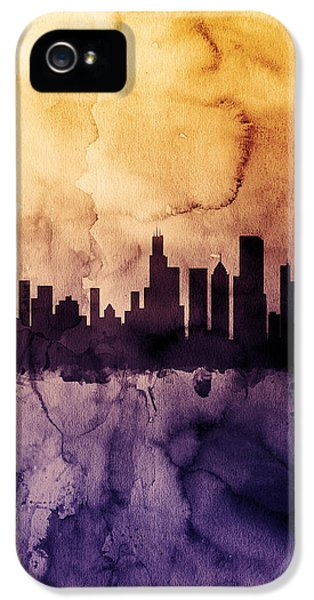 Chicago Skyline iPhone 5 Cases - Chicago Illinois Skyline iPhone 5 Case by Michael Tompsett