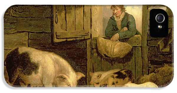 A Boy Looking Into A Pig Sty IPhone 5 / 5s Case by George Morland