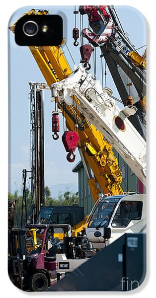 Point Of View iPhone 5 Cases - A Group Of Mobile Cranes. Hooks iPhone 5 Case by Lawren Lu