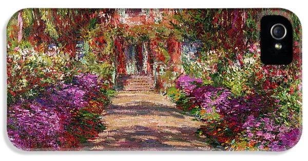 Leaf iPhone 5 Cases - A Pathway in Monets Garden Giverny iPhone 5 Case by Claude Monet