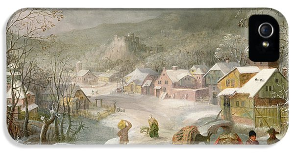 A Winter Landscape With Travellers On A Path IPhone 5 / 5s Case by Denys van Alsloot