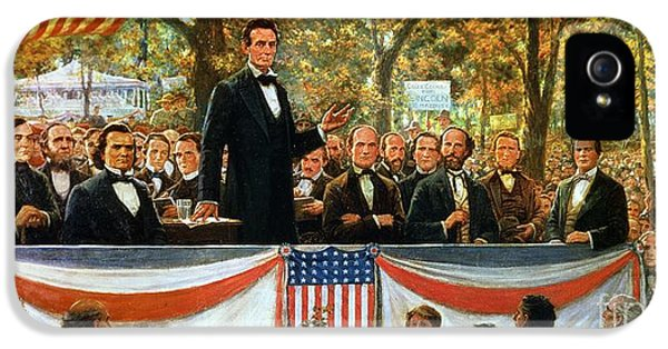 Speech iPhone 5 Cases - Abraham Lincoln and Stephen A Douglas debating at Charleston iPhone 5 Case by Robert Marshall Root