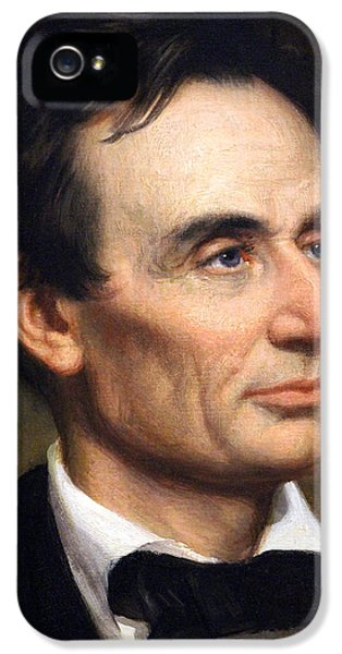 National Portrait Gallery iPhone 5 Cases - Abraham Lincoln By George Peter Alexander Healy Up Close iPhone 5 Case by Cora Wandel